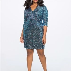 Eloquii Blue Sequin Sparkle 3/4 Sleeve Dress 18